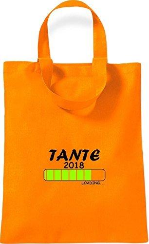 ShirtInStyle kleine Baumwolltasche TANTE 2018 Loading Geburt Geschenk Orange