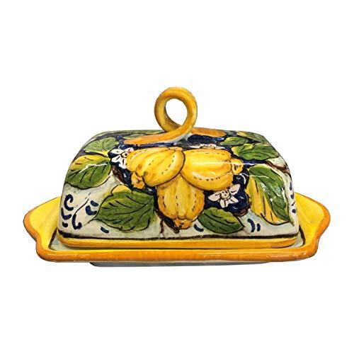 CERAMICHE D\'ARTE PARRINI- Italienische Kunstkeramik, Butterdose Dekoration Zitronen, handgemalt, hergestellt in Italien Toscana