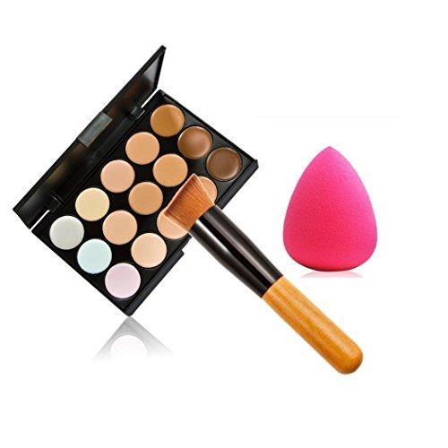 TOOGOO Concealer de Maquillage de 15 Couleurs Palette du Contour + deponge d'eau + Pinceau de maquillage