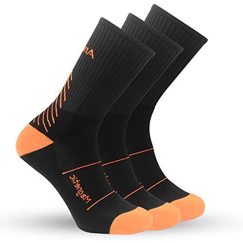 IMITOR Calcetines de Senderismo para Hombre y Mujere Algodón Transpirable Calcetines de Trekking Calcetines para Actividades al Aire Libre Ciclismo Correr Escalar 3 Pares (Negro Naranja)