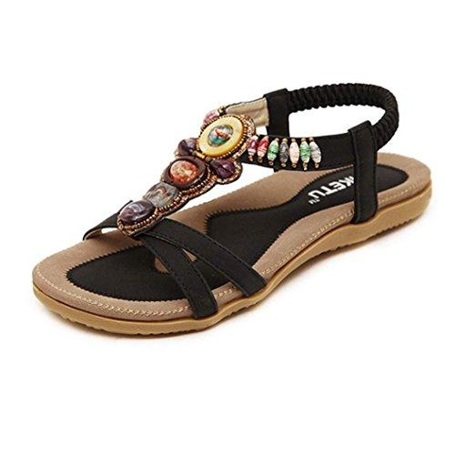 UFACE Simia Flache Schuhe Sandalen Slip Tragbare Modelle Damenmode süße Perlen Clip Toe Wohnungen Bohemian (36, Sternenklares Schwarz)