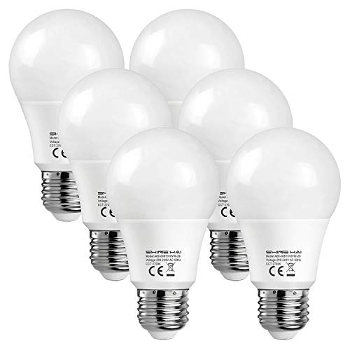 SHINE HAI LED ES E27 GLS Bulbs 60W Equivalent, A60, 8W, 2700K Extra Warm White Frosted, Ultra Bright 800Lm, Non-Dimmable, Edison Screw Light Bulbs, Energy Saving Bulbs, 6-Pack