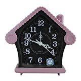 Home Shape Vintage Alarm Clock - Pink (CLKf136) - Kids Room Desk and Home Decor