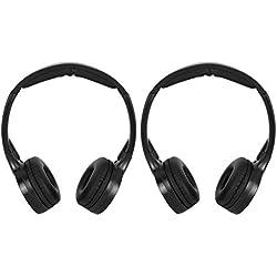Casque sur l'oreille, 2 canaux sans fil infrarouge IR stéréo sans fil casque audio casque écouteur pour voiture appui-tête DVD