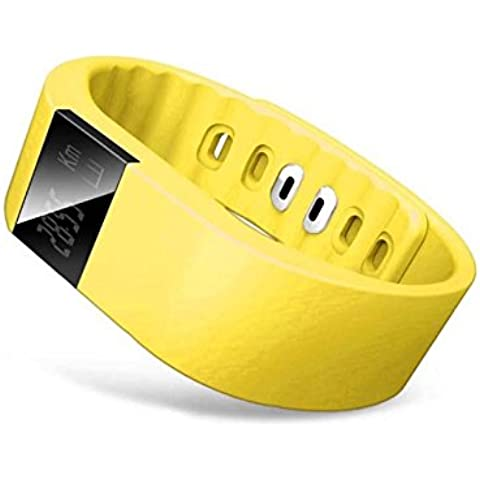 Tongshi Bluetooth elegante reloj pulsera deporte sano podómetro del monitor del sueño (Amarillo)