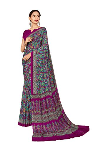Vimla Women's Crepe Saree With Blouse Piece (6449_Ic10_Grey)