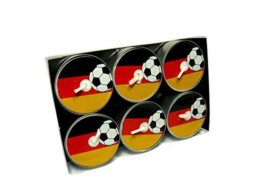 """6er Pack Motiv Teelichter \"""" Deutschland Flagge mit Fussball \"""" Motiv bleibt beim Abbrand sichtbar, Design Lichter, Motivkerzen, Fußball WM - EM"""