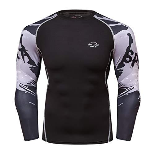 serliyHerren Langarmshirt Rundhalsausschnitt Atmungsaktiv Lange Ärmel Yoga Fitness Gedruckt Sweatshirt Sport Weiches T-Shirt Tops langärmliges Funktionsshirt für Männer
