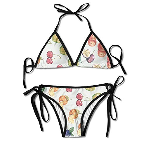 ee78e86476c9 Blueberry Cherry Passion Fruit Women's Sexy Bikini Set Swimsuit Bathing  Suit Triangle Swimwear