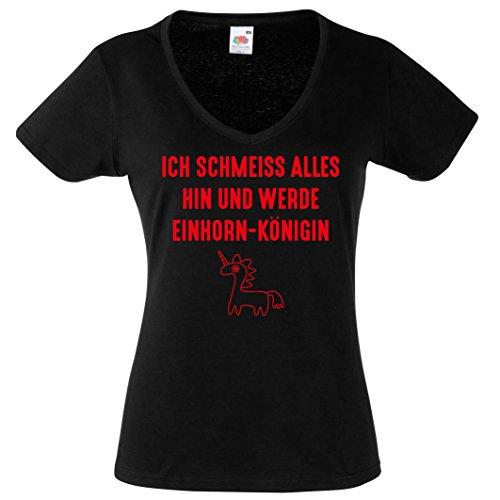 Damen Shirt V-Neck ICH SCHMEISS ALLES HIN UND WERDE EINHORNKÖNIGEN Lustige Sprüche Einhornsprüche T-Shirt Damen Gr. S - XXL Schwarz-Rot