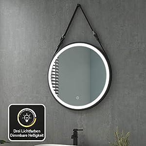 Badezimmerspiegel mit Beleuchtung Rund LED Badspiegel 60 cm Durchmesser Spiegel 3 Lichtfarbe Warmweiß/Neutral/Kaltweiß 3000-6500K Dimmbar Lichtspiegel Wandspiegel mit Touchschalter, Wasserdicht IP44