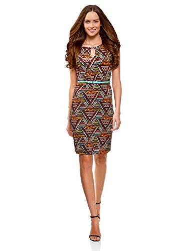 oodji Collection Damen Jersey-Kleid mit Gürtel, Rot, DE 38 / EU 40 / M
