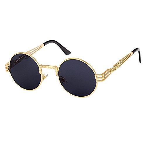 Hibote Metall Punk Sonnenbrille Klassische Vintage Steampunk HipHop Sonnenbrille Für Männer Frauen C8