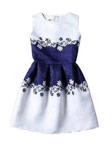 PU&PU Robe Aux femmes Gaine Vintage / Street Chic,Imprimé Col Arrondi Au dessus du genou Polyester BLUE-S