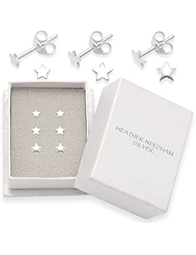 Silber Ohrstecker, Stern, 3 Paar, Größen: 3mm 4mm & 5mm. Geschenkbox. 5148SET