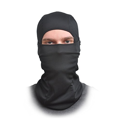 Sturmhaube Face Maske–Eine Größe Passt Alle elastischen Stoff–Schützt vor Wind, Sonne, Staub–Ideal für Motorrad, Gesicht Maske für Ski, Radfahren, Laufen und Wandern–Sommer oder Winter (Face Maske Full Black)
