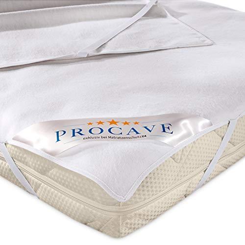 PROCAVE Molton-Matratzenschoner in weiß, Matratzen-Auflage aus 100% Baumwolle, hochwertige Moltonauflage als Matratzenschutz, Premium Qualität Made in Germany 160x200 cm