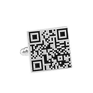1 STÜCK Einzigartige Qr Code Manschettenknöpfe, Herren Manschettenknöpfe, Creative Shirts Manschettenknöpfe, Accessoires Für Herren Damen Fashion Knot Design Alloy Manschettenknöpfe, Schwarz