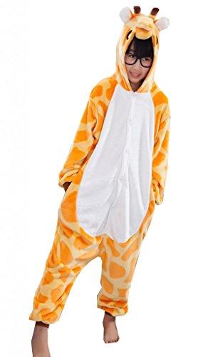 La Vogue-Pigiama Bambini Unisex Tuta Pigiama Felpato Fumetto (#14 Giallo Giraffa, Numero 95)