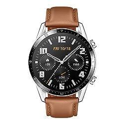 Huawei Watch GT 2 Smartwatch (46 mm Full- Screen AMOLED Touchscreen, GPS, Fitness Tracker, Herzfrequenzmessung, 5 ATM Wasserdicht) Leder Armband, Pebble Brown + 1 extra Schwarz Fluorelastomer Armband