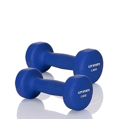 LCP Handels GmbH Kurz-Hantel 2er Set Neopren Gewichte für Aerobic Gymnastik und Fitness; 2x1,5 kg