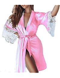 4d88ca84cb90 Zycshang Donne Accappatoio Sexy della Biancheria Sciolto Raso Pigiama  Kimono Camicia da Notte Setosa Vestaglia con