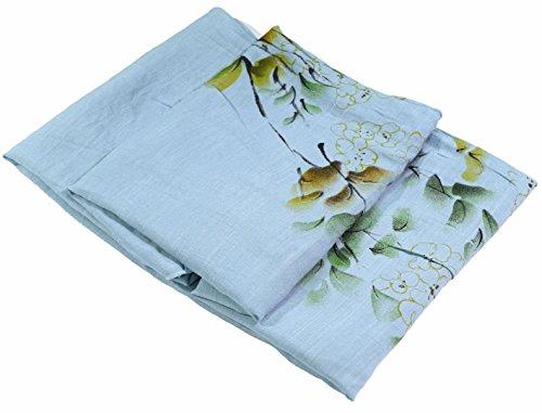 Blaue Blumen Sehr Großer Druck Von Hand Bemalt Leinen Und Baumwolle Mischung Schal (Bemalt, Von Baumwoll-leinen Hand)