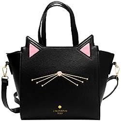 Rawdah Bolso de gran capacidad de mujeres encantadoras del oído del gato bolsa de hombro bolso (Negro)