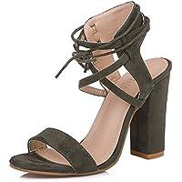 LIANGXIE Lady High Heels Ultimate High Peeps Shoes Sandalias Hechas A Mano Sandalias Super High-Heeled Hueco Cabeza Redonda con Sandalias Gruesas Tobillo Hebilla Zapatos De Mujer