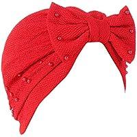 Sombrero Mujer Invierno Elegante ❄ Sonnena Mujer Bowknot musulmán Volante Sombrero Cáncer Chemo Hat Beanie Beading Turban Head Wrap Gorra
