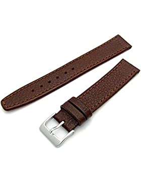 Echtes Leder Uhrenarmband ODD Größen 15mm braun mit Chrom (Silber Farbe) Schnalle