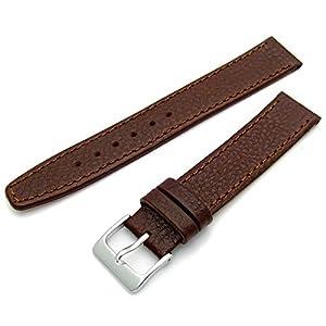 WatchWatchWatch Herren Leder Uhrenarmband 17mm Braun mit Chrom (Silber-farbe) Schnalle w300s/17s