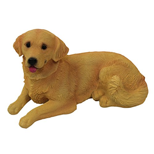 1PLUS Polyresin Figuren Gartenfigur Hund Golden Retriever, handbemalt, Gartendekoration Tiere, Kunstharz Dekofiguren