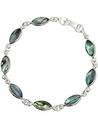 Beautiful inlaid Paua Shell Bracelet - Gift Boxed - Oval Link Design