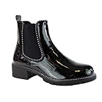 New Womens Chelsea Ankle Boots Studs Chunky Low Heel High Top Ladies Shoes