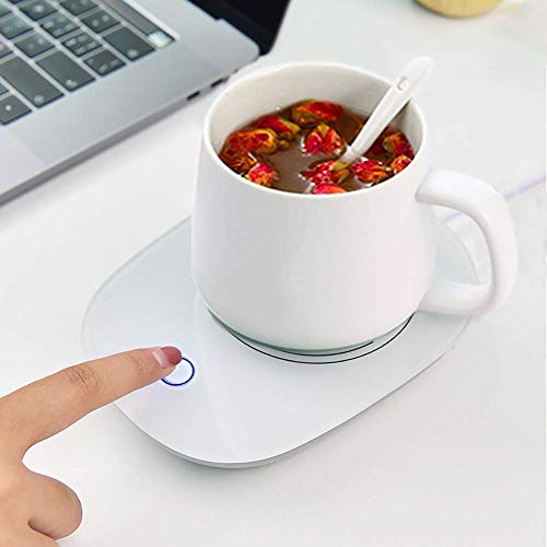 Tonsyl Electric Desktop Mug Cup Warmer Hot Plate Heater Safely Use for Office/Home to Warm Coffee Tea Milk Candle, (Cup & spoon Included)