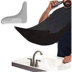 BeYself Barba Delantal con Peine de Afeitar Profesional, Babero para Barba con Ventosa - Dejen de Estorbar su Fregadero Capa para Afeitar Regalo para Hombre (Negro)