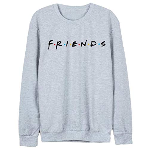 ZOUCY Women Friends Sweatshirt Casual Winter Autumn Warm Hoodies Letter Print Pullover - Gray - Large