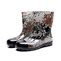 Mens Wellies Rubber Outsole Shoes,Durable Rain Shoes,Easy to Clean Wellington Boots -for Wet & Cold Weather,Camouflage Non-Slip Tube Garden Shoes Work Shoes