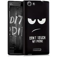 """kwmobile Funda para Wiko Ridge Fab 4G (5.5"""") - Case para móvil en TPU silicona - Cover trasero Diseño Don't touch my phone en blanco negro"""