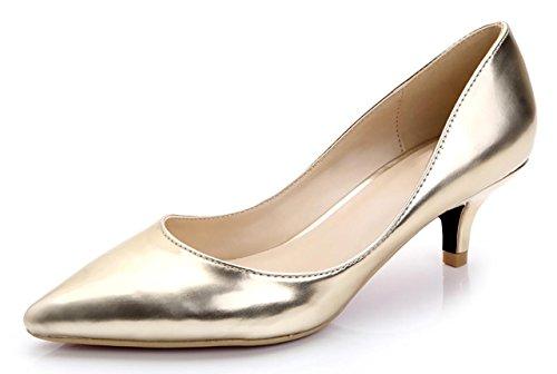 CAMSSOO Damen Spitz, Gold Soft PU - Größe: 38