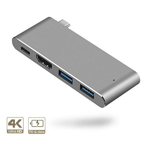 Pourvie Estación de Carga USB-C Hub 4k, Salida de vídeo HDMI, 2 Puertos para MacBook...