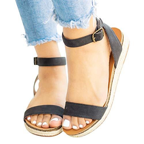 Sandalias Mujer Verano 2019 Tiras Mujer Hebilla Trenzada Sandalias Zapatos Romanos Sandalias Tacones...