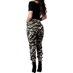 Pantalones de la manera del mujer,koly Mujeres de cintura alta Camuflaje militar ejercito verde Pantalones sueltos ocasionales Pantalones de impresión Multicolor (M, Multicolor)