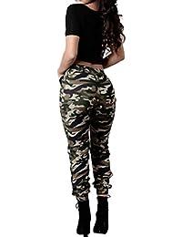 Pantalones de la manera del mujer,koly Mujeres de cintura alta Camuflaje militar ejercito verde Pantalones sueltos ocasionales Pantalones de impresión Multicolor