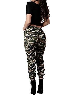 Pantalones de la manera del mujer,koly Mujeres de cintura alta Camuflaje militar ejercito verde Pantalones sueltos...