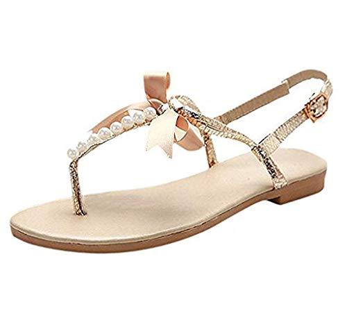 Minetom Damen Mädchen Sommer Flache Sandalen mit Schleife und Weiße Perlen T-Riemen Zehentrenner Sandaletten Peep Toe Schuhe Gold EU 37 Gold Peep Toe Schuhe