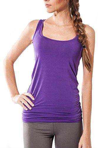 Sternitz Frauen Fitness, Maya Top, ideal für Pilates, Yoga und jeder Sportart, Bambusgewebe , ökologische und weich. Ärmel. (Lila, Small)