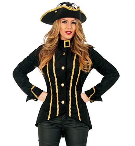 KarnevalsTeufel Damenkostüm-Set Scarletta, 2-teilig Jacke und Hut | Größe 36 - 42 | Renaissance, Barock, Piratin, Steampunk (42)