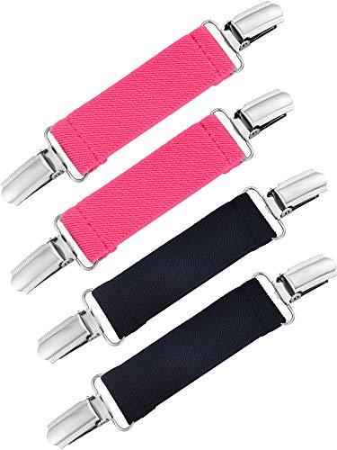 4 Stück Starke Edelstahl Handschuh Clips Elastische Handschuhe Caps Clips für Baby und Kinder (Schwarz und Rose Rot) (Für Handschuh-clips Erwachsene)